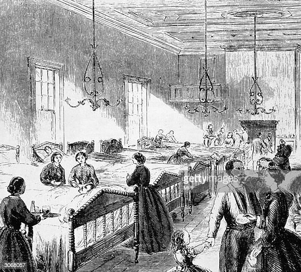 Women volunteers at work in a Union Hospital during the American Civil War