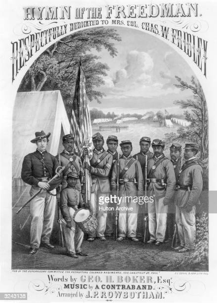 Lithograph cover illustration of sheet music to 'Hymn of the Freedman' depicting black soldiers of the Union 8th US Colored Troops and their...
