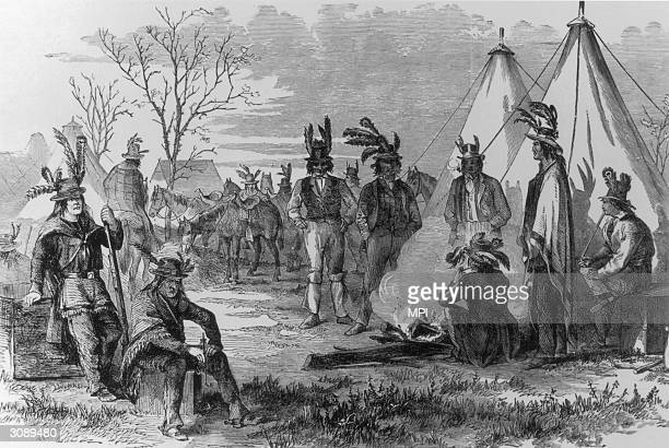 Delaware Indians resting after a reconnaissance mission on behalf of the Union Army during the American Civil War