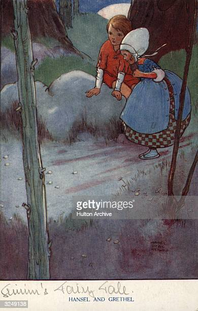 A postcard showing Hansel and Gretel lost in the woods from the fairy tale by the brothers Grimm Raphael Tuck Sons Grimm's Fairy Tales Series No 4095