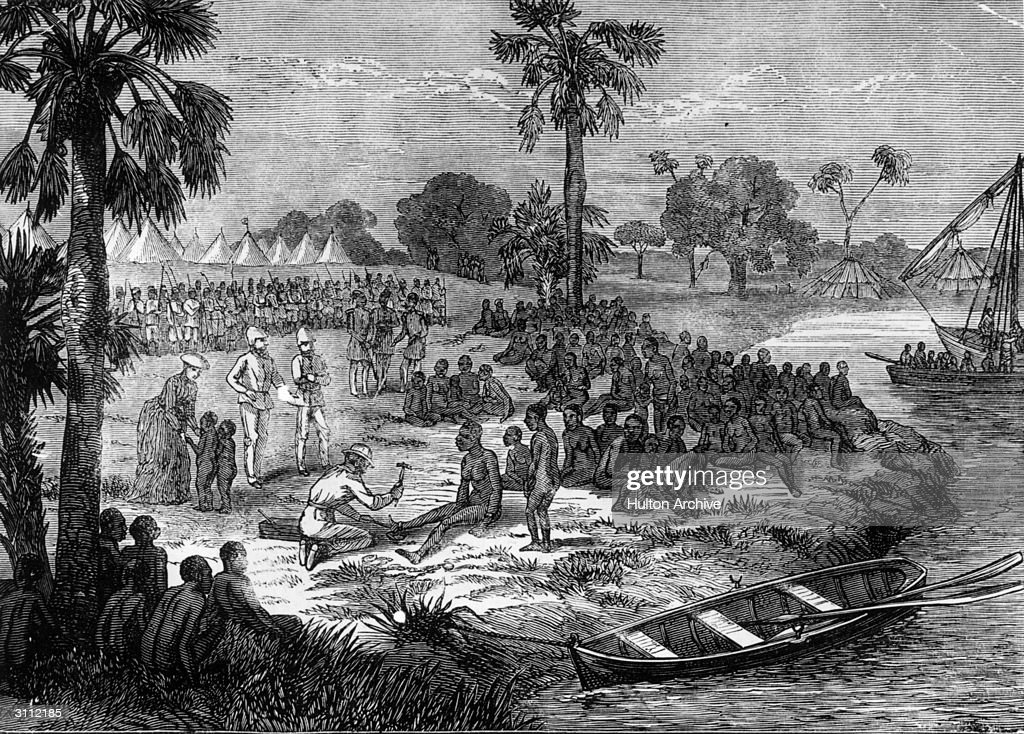 Sir Samuel Baker's AntiSlavery expedition liberating slaves after the capture of a slave ship 'Somalia' by Sir Samuel Baker