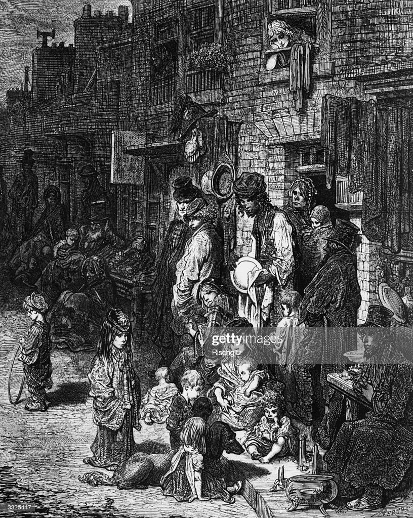 Slum life in Wentworth Street at Whitechapel London Original Artist By Gustave Dore
