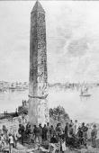 A 695 ft Egyptian obelisk which had graced the entrance to the Temple of the Sun in Heliopolis in 1500 BC in the harbour at Alexandria where it was...