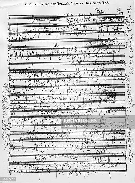 A page of annotaed score from Richard Wagner's opera 'Nibelungenlied' showing the scene of Siegfried's death