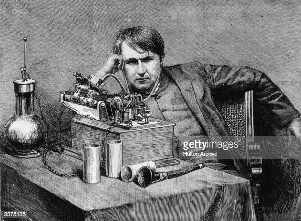 American inventor Thomas Alva Edison receives the first phonogram from England in his laboratory His research greatly increased the efficiency of the...