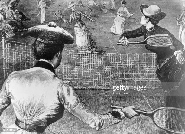 Women playing tennis in Prospect Park Brooklyn New York