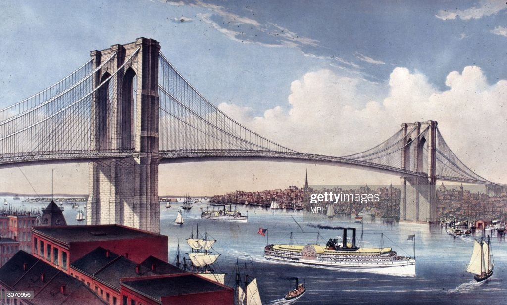 The Great East River Suspension Bridge (Brooklyn Bridge) in New York City. Built between 1870 and 1883, it spans the East River and measures 5,988 feet including approaches. Published by Currier and Ives.