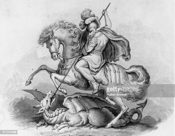 Circa 300 AD St George patron saint of England and Portugal slaying the dragon Original Artwork 19th century engraving