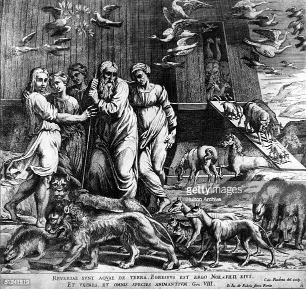 Circa 4000 BC The biblical figure Noah and his family on dry land with the animals disembarking from the Ark after the floods have subsided