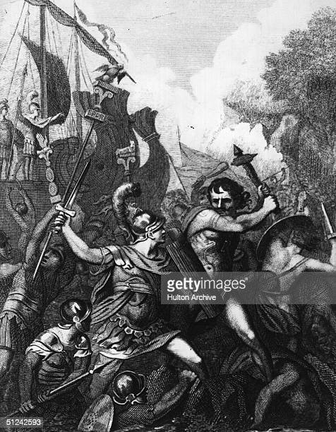 Circa 44 BC Julius Caesar the Roman general and statesman is depicted landing his craft in the midst of a battle during his invasion on Britain...