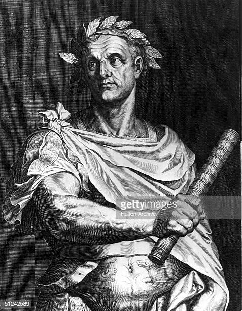 Circa 50 BC Julius Caesar as dictator of Rome wearing a crown of laurel and holding a symbol of office