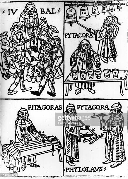 Circa 520 BC Scenes from the life of the Greek philosopher sage and mathematician Pythagoras who established a religious community in the Greek...