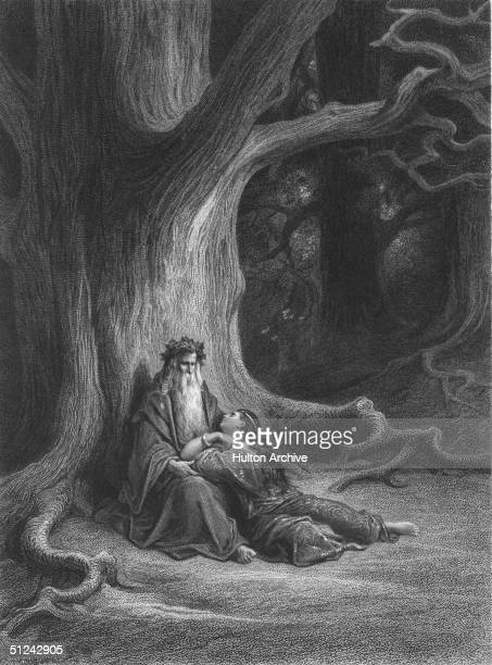 Circa 540 AD Vivian lying at the feet of Merlin under a large tree in an illustration from an Arthurian Legend Original Artwork Engraved by Gustave...