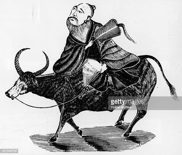 Circa 550 BC Laotsze Chinese philosopher and founder of Taoism riding an ox
