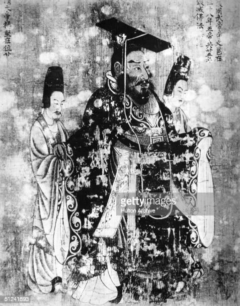 Circa 577 AD Emperor Wu Ti of the Chinese Chou Dynasty attended by two ministers