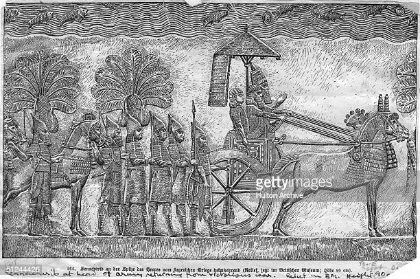 Circa 700 BC Sennacherib king of Assyria in a war chariot returning from victory in battle at the head of his army Original Artwork Engraving after a...