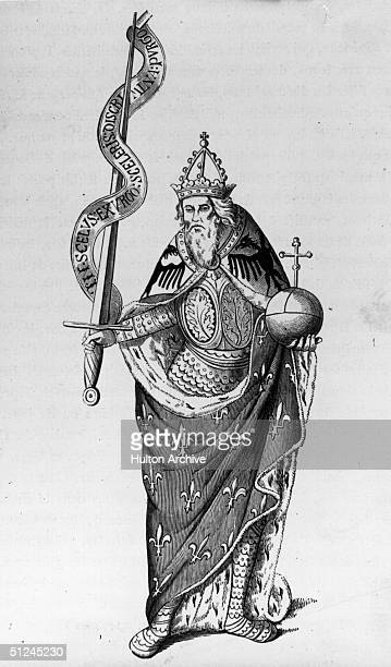 Circa 800 AD Charlemagne otherwise known as Carolus Magnus Charles the Great king of the Franks and Christian emperor of the west