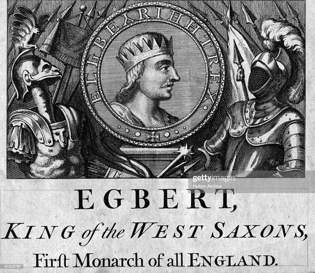 Circa 829 AD, King Egbert of Wessex (775 - 839), (King Egbert of the West Saxons), who in 829 was recognised as the supreme ruler of all Anglo-Saxon kings and the First Monarch of all England.