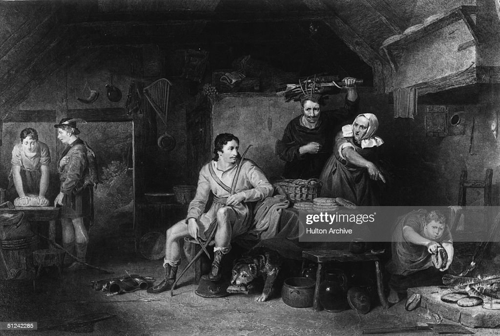 Circa 880 AD, David Wilkie's portrayal of Alfred The Great (849 - 899) being scolded for burning cakes. Wilkie, born in Fife, was sent to the Trustees Academy in Edinburgh before moving to London to study at the Royal Academy. He is famous for genre paintings wh