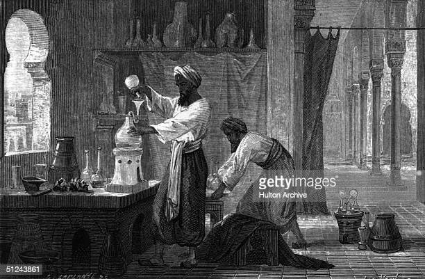 Circa 901 AD Abu Bakr alHazi Rhazes also known as Razi the Persian physician and alchemist in his laboratory in Baghdad with one other From Louis...