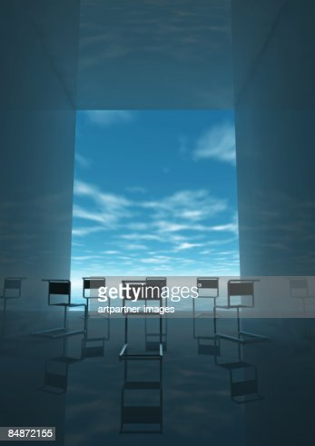 circle of empty chairs : Stock Illustration