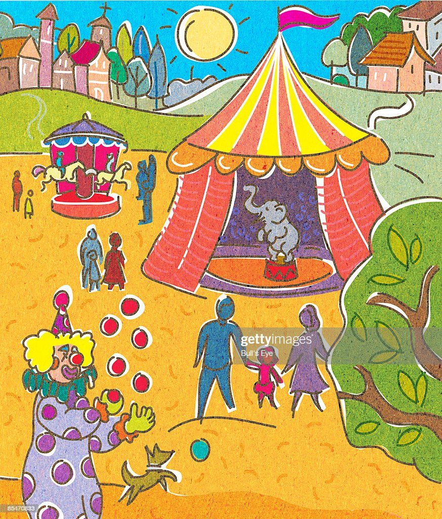 A circus and a town in the background : Stock Illustration