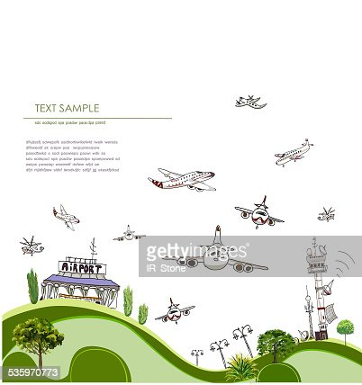 City airport illustration : Stock Illustration