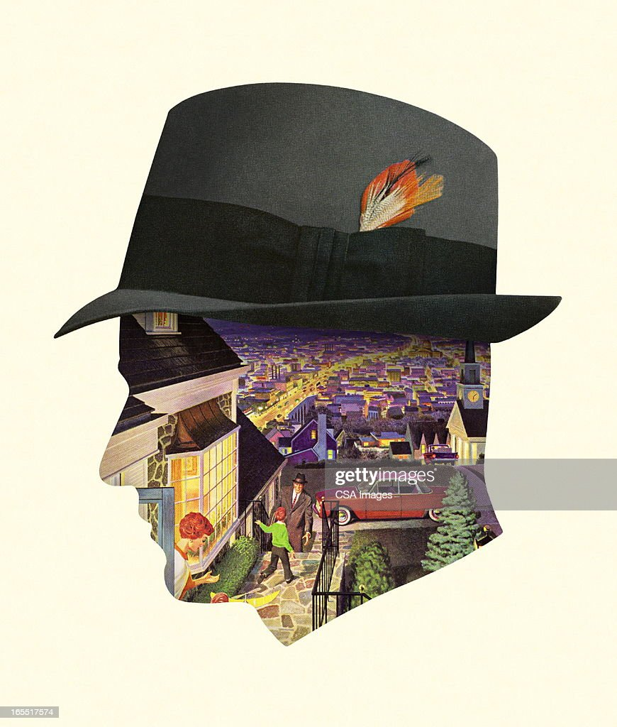 City Scene in the Silhouette of a Man's Head : Stock Illustration