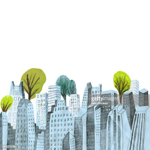 City skyline with trees on white background