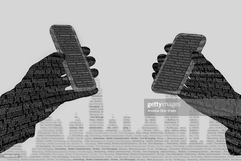 Cityscape and hands using mobiles formed from text : Stock Illustration