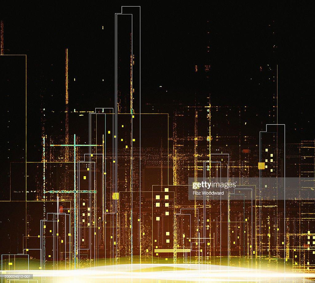 Cityscape, night : Stock Illustration
