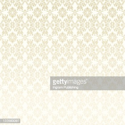 Classic gothic floral wallpaper background pattern in white and beige : Vector Art