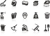 """Monochromatic cleaning related vector icons for your design or application. Raw style. Files included: vector EPS, JPG, PNG."""