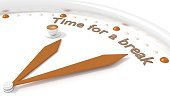 Clock with two brown hands and a coffee pointing to the words time for a break 3D illustration