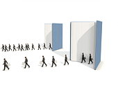 Cloned businessman coming out of a book