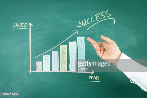 Close up of Chalkboard with Finance Business Graph : Stock Illustration
