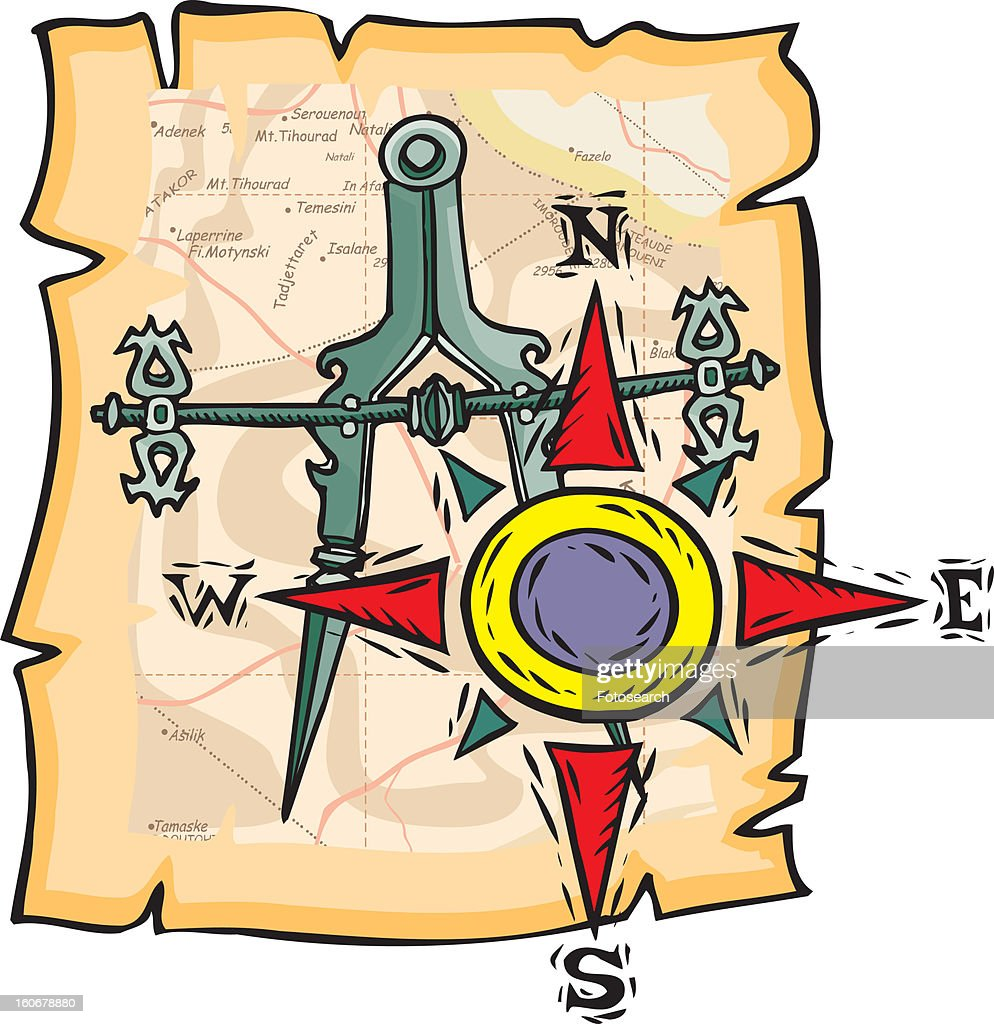 Close up view of a compass with directions made on torn sheet : Stock Illustration