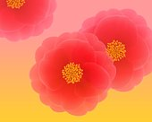 Closed Up Image of Three Red Camellias In Front of a Yellow-Pink Surface, Illustration, Illustrative Technique