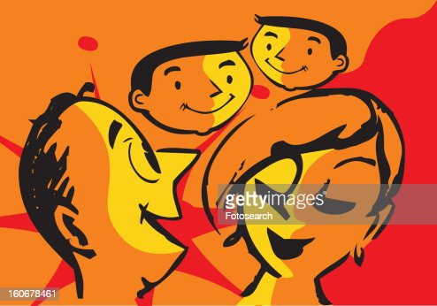 Close-up faces of parents and children : Stock Illustration