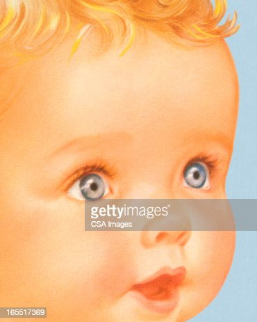 Closeup of a Baby Face : Stock Illustration