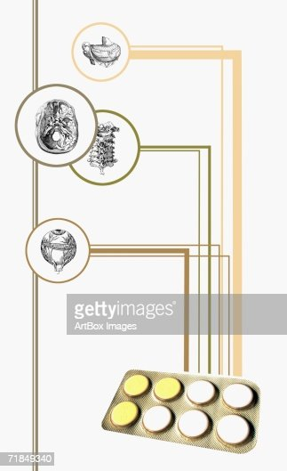 closeup of a blister pack with diagrams of human organs. Black Bedroom Furniture Sets. Home Design Ideas