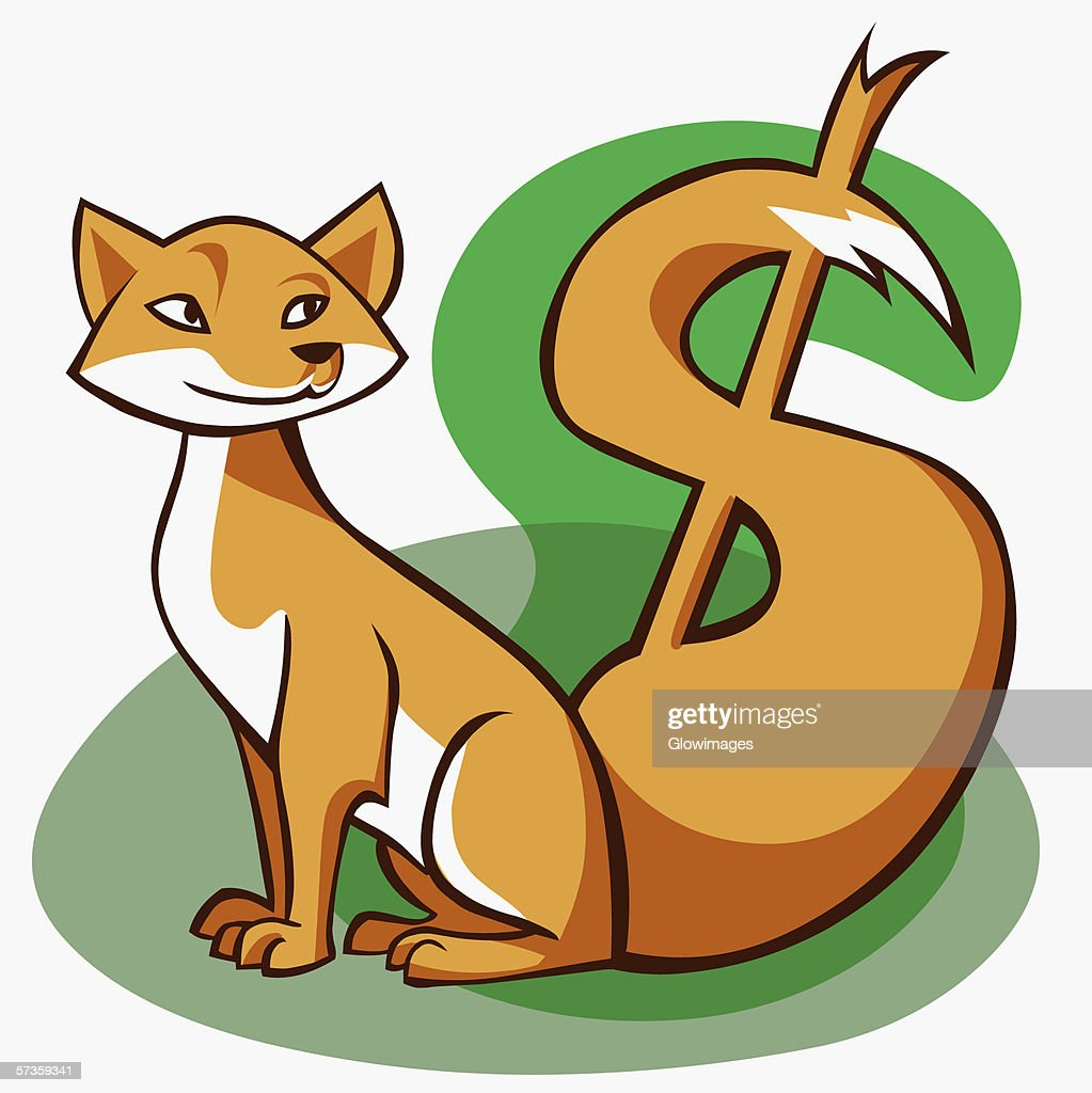 Close-up of a fox with its tail in the shape of a dollar sign : Stock Illustration