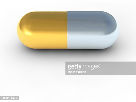 Close-up of a medical pill in gold and silver : Stock Illustration