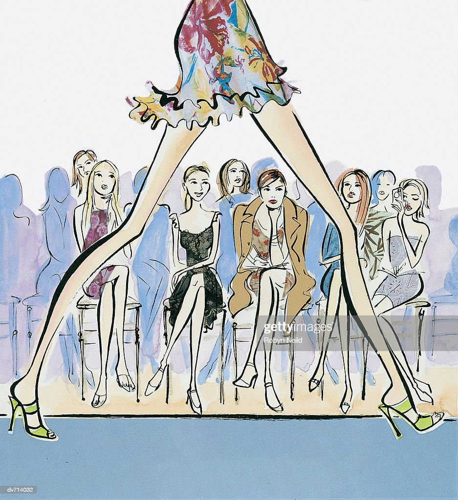 Close-Up of a Model's Legs Walking down a Catwalk : Stock Illustration