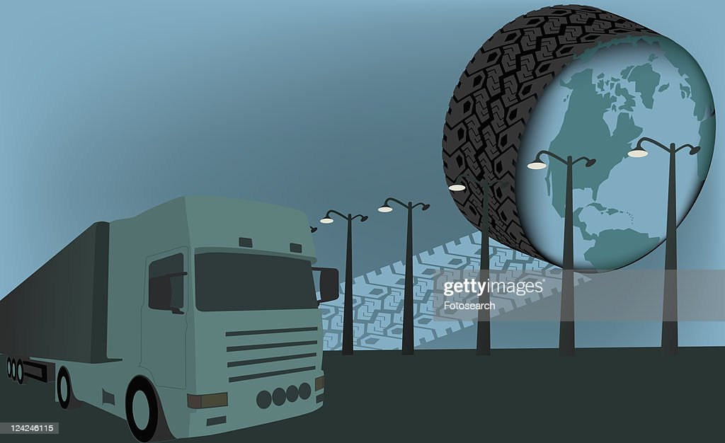 Close-up of a semi-truck on the road near a tire showing the world map : Stock Illustration