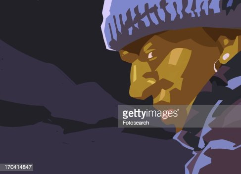 Closeup of black man in the night wearing a cap : Stock Illustration