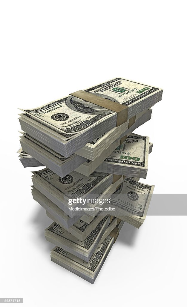 Close-up of bundles of money : Stock Illustration