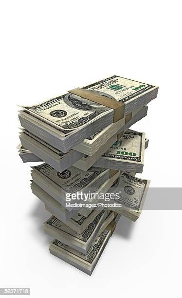 Close-up of bundles of money