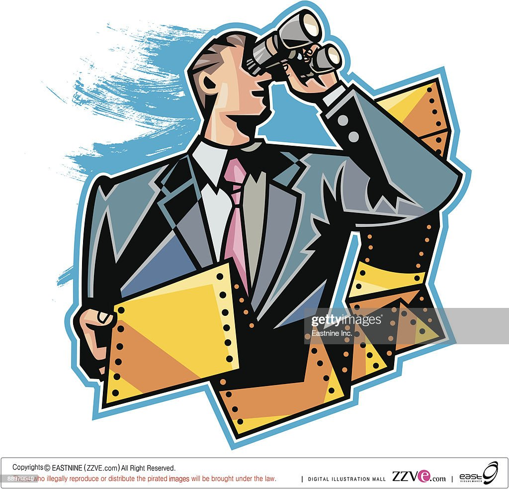 Close-up of businessman holding computer paper and binoculars : Vector Art