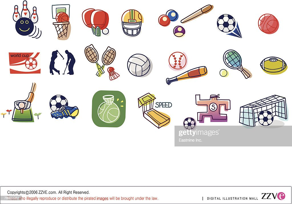 Close-up of different type of sports equipments : Vector Art